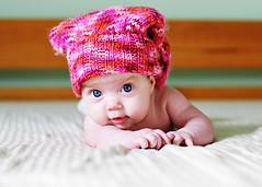 12 weeks old ({amanda}) Tags: pink baby colour girl hat 50mm bravo child little small interestingness1 naturallight windowlight 12weeks amandakeeysphotography