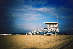 lifeguard hut (lomokev) Tags: california blue sea sky beach la losangeles lomo lca xpro lomography crossprocessed xprocess sand santamonica lifeguard lomolca hut agfa jessops100asaslidefilm agfaprecisa baywatch lomograph agfaprecisa100 cruzando precisa lifeguardhut  deletetag jessopsslidefilm fileday03r8e297 rota:type=showall