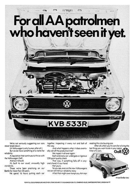 "Volkswagen Golf Mk1 Advert - ""For all AA patrolmen who haven't seen it yet"""