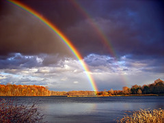 Double Bows (Nicholas_T) Tags: autumn sky lake nature weather clouds landscape pennsylvania creativecommons rainbows lehighvalley scudclouds northamptoncounty uppermountbetheltownship fractocumulus minsilake minsilakewildernessarea