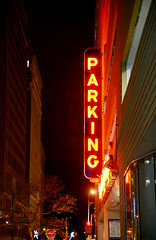 I saw the sign (charlottehathawayfeatherstone) Tags: new york architecture buildings night sign