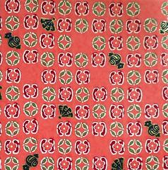 Yuzen washi 188 (tengds) Tags: handmadepaper japanesepaper yuzenwashi washi chiyogami abstract fan drum coralpink black white olivegreen tengds