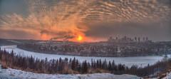 Hazy Edmonton Sunset (John Payzant) Tags: sunset edmonton alberta canada hdr panorama