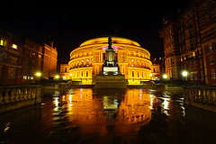 The Royal Albert Hall lit up at night