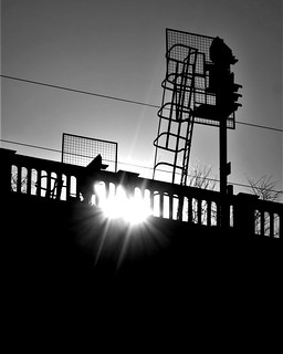 Sunlight and Silhouetted Signal Post - High Level Bridge