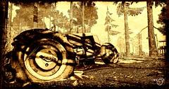 1922 (Rose Beaumont) Tags: tracteur sepia landscape second life san monique woods rusted farmlife abandoned 1922