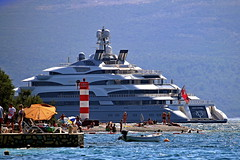 Drive by... (superhic) Tags: crnagora montenegro sea more plaza beach plaža summer leto ljeto bokokotorskizaliv ship yacht