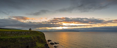 2 shot panoramic of the Mussenden Temple and the sun setting over Inishowen Co. Donegal. (jac.photography49) Tags: beach clouds canon cliff castle donegal downhill exposure sea reflections fullframe ngc headland hills images ireland view wideangle sky 5dmkiii lough loughfoyle mountain monument northernireland rocks foyle shore sunset tiltsshift water waves codonegal seascape