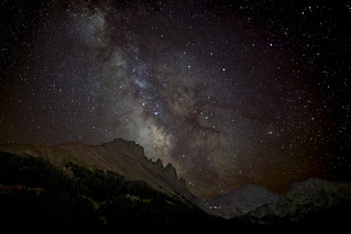 Nokhu Crags lit by the Milky Way