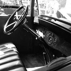 Dodge Brothers (JoRoSm) Tags: hebden bridge classic vintage car show 2018 cars autos canon eos 500d tamron 1750 f28 db dodge brothers detroit usa american mono monochrome bw bnw cockpit steering wheel wood floor dials cabin