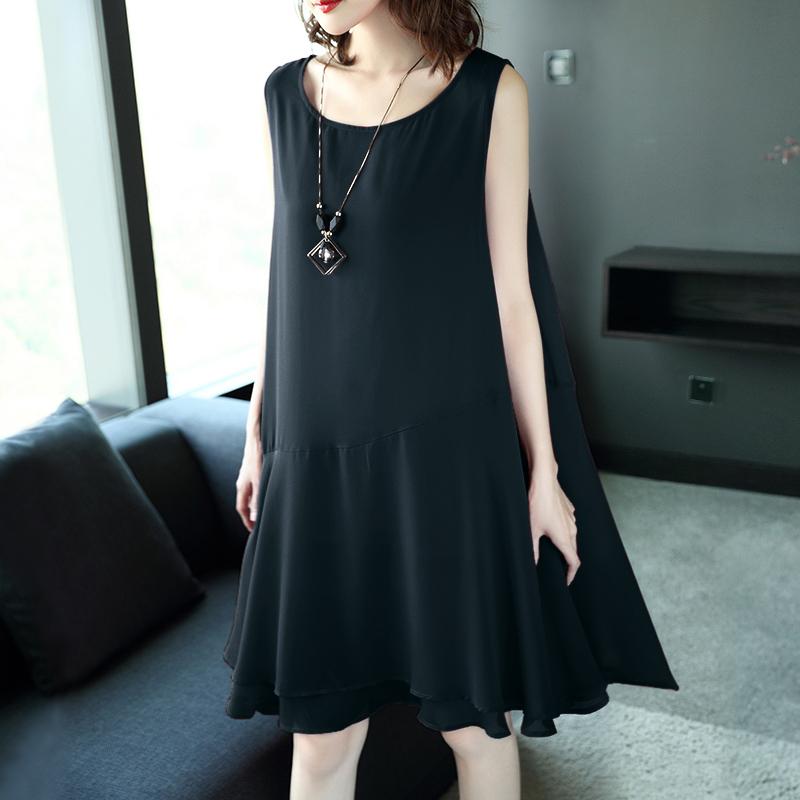 Big size summer dress, new women's wear, 2018 fat sister, Korean version, fat mm, shit chiffon, straight tube dress, western style meat.
