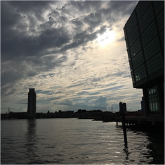 Fells Point ~ dramatic evening sky (karma (Karen)) Tags: baltimore maryland fellspoint harbors clouds sky squared sunset iphone