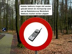 Silence area Radio Telescope Westerbork (HansHolt) Tags: sign silence area prohibition ban mobile telephone phone cellphone wsrt radio telescope astron trees path westerbork drenthe netherlands olympusmju9010 olympusstylus9010