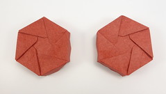 Sunk Star Boxes (two enantiomers) (Michał Kosmulski) Tags: origami box boxes star mirrorimage symmetry handedness chirality chiral left right enantiomers hexagon hexagonal michałkosmulski elephanthidepaper red
