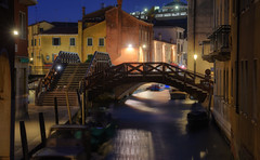 Two Wooden Bridges (henriksundholm.com) Tags: venice italy dusk night bridge canal shadows reflections city urban boats hdr