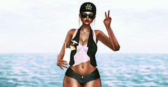 Good Vibes Only (SueGeeli DeCuir) Tags: smesh vest top shorts welovetoblog vanityhair curly cap izzies wet beach pinacolada peace chicchica genusproject slink lumea namiichu ocean hot summer secondlife blog virtualworld blogger styleitup styleitupsl