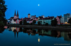 Regensburg (kimbenson45) Tags: danube germany regensburg architecture blue bluehour buildings colorful colors colourful colours dusk evening green lights moon outdoors pink reflected reflection river spires town twilight water waterway