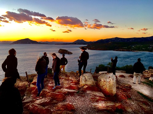 Watching the sunset at Cape Sunion, Greece