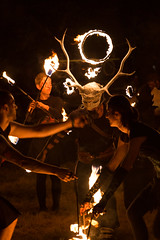 PyroCeltica at Doune the Rabbit Hole (6) (Five Second Rule) Tags: dounetherabbithole festival 2018 summer scotland stirlingshire portofmenteith fire dance dancers show entertainment theatre flames evening dark performance celtic pyroceltica stag antlers skull deer ceremonial