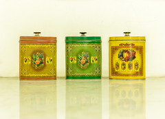 Three oval vintage colorful tin storage on white background (zaklina.miljkovic) Tags: background box brown bucketbin can cap classic clean closed color colorful container cover culinary decoration decorative design elegant flower green jar kichenware lid metal metallic multicolor object oval painted pattern pot preservation retro steel storage three tin vintage white yellow