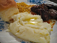 Supper. (dccradio) Tags: lumberton nc northcarolina robesoncounty indoor indoors inside food eat meal supper dinner lunch potatoes mashedpotatoes butter meltedbutter chuckroast gravy corn roll kingroll corelle plate canon powershot elph 520hs