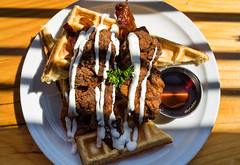 Opposites attract (explored 05/08/18 #254) (Honeycomb Studios) Tags: food foodphotography foodie vancouver brunch waffles maple syrup chicken bacon breakfast wood shadows lunch meal photo photography sun morning canada dof