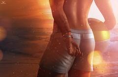 Skip~Torricelli Hampton Swim Trunks (Skip Staheli *10 YEARS SL PHOTOGRAPHER*) Tags: skipstaheli secondlife toritorricelli summer water sunset hot wet bokeh sl avatar virtualworld digitalpainting waves drops