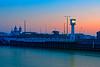 First Light (Geoff Henson) Tags: daybreak dawn sunrise river water lighthouse themepark glow pink light blue