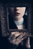 Behind the Frame (EbruSidar) Tags: select frame woman portrait mysterious holding lips choker closeup necklace pearl redlips concept conceptual dark hair red lipstick hands mystery jewellery serious young pictureframe