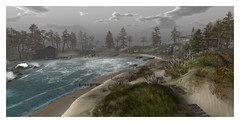 Rising fog and salty breezes...perfect for exploration! (stormyseas11) Tags: sl secondlife virtual waterscape beach path fog dingy