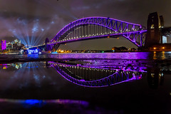 Vivid Boat and Bridge (Jared Beaney) Tags: canon6d canon travel photography photographer australia sydney vividsydney 2018 night sydneyharbourbridge kirribilli views sydneyharbour reflections reflection puddle bright colour color newsouthwales