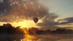 Golden Dawn (EX22218 - ON/OFF) Tags: sunrise lake water balloon hotair aviation clouds ray sun sunray louisville kentucky usa letsguide golden dawn goldendawndiner newjersey gold
