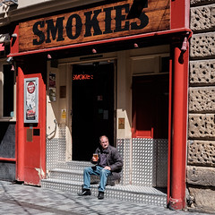 Too smoky for him inside. (James- Burke) Tags: beer man pub street smokies streetphotography candid bar liverpool citycentre