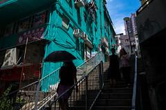 Hong Kong, China. August 2018 (Victor M. Perez) Tags: streetphotography leicam10 leica mystery stairs umbrella green china hongkong