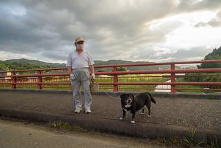 Maskman and dog.