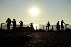 The Spot (fxdx) Tags: spot falaise falaises etretat photographer sun sunset fence silhouette people rx100