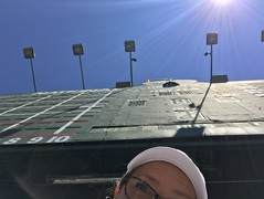Selfie under the iconic Wrigley Field Scoreboard on a blue-sky 75-degree July day (LauraGilchrist4) Tags: notacloudinthesky bluesky sunshine sun wrigleyfieldbleachers selfieunderthescoreboard selfie baseball chicago cubs chicagocubs mlb bleachers wrigleyfieldscoreboard scoreboard wrigleyfield