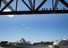Taking a Tour (fantommst) Tags: lisaridings fantommst nsw australia aus sydney waterfront harbour opera house cruise ship bridge silhouette people tour above