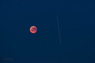 Total eclipse of the moon and ISS overflight