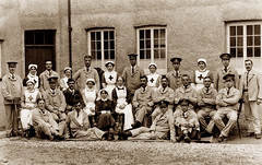 Red Cross Hospital, Aberaeron (footstepsphotos) Tags: abaraeron redcross hospital group people nurse soldier uniform ceredigion military wales old vintage photograph past historic history patient wounded injured war ww1