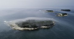 Coastal Islands and Fog (hessamt) Tags: acadianationalpark schoodicpeninsula coreamaine islands sheepisland sallyisland lowerbarisland upperbarisland aerial drone fog mist polarizer