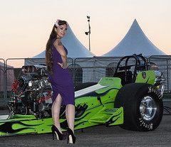 Holly_1822 (Fast an' Bulbous) Tags: classic slingshot dragster fast speed power supercharged pinup girl woman hot sexy long brunette hair wiggle dress high heels stilettos stockings nylons model