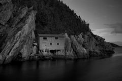 The Shack - Shoe Cove, Newfoundland (Toronto, Ontario, Canada) Tags: shoe cove newfoundland shack black white nikon d850 zeiss 35mm f2 water old house fishing
