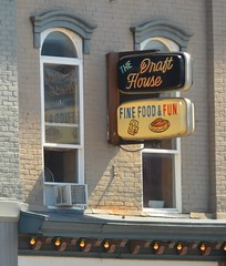 fine food and fun (brown_theo) Tags: draft house fine food fun plastic sign wall advertisement street newark ohio downtown square