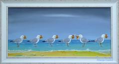 Acrylic Down the Shore With a Poke of Chips (g crawford) Tags: gulls gull herringgull chips fish bird birds seabird seabirds shore sand wave seashore beach crawford acrylic paint painting art