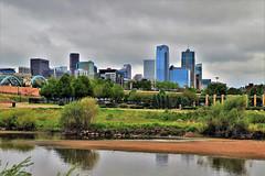 Downtown Denver (Jan Nagalski) Tags: river creek sand sandbar skyline downtown clouds darksky darkclouds reflection confluencepark denver colorado jannagalski jannagal southplatteriver cherrycreek