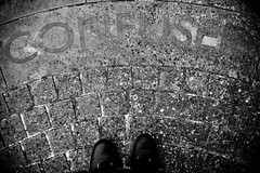 Confused (pigpogm) Tags: mxpp photography blackandwhite ground heavitree monochrome pavement word