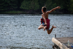 Jump in the Lake (Photo Oleo) Tags: 2018 diaperbomb dock cottage water august rural summer lifejacket country river