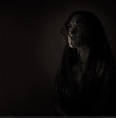 Akasha (bcud14) Tags: woman studio veil blackandwhite monochrome square lowkey dark portrait