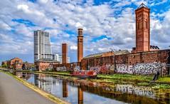 Industrial Landscape (Paul Thackray) Tags: yorkshire westyorkshire leeds leedsandliverpoolcanal towerworks hardingsleedsltd lamberritower giottoscampanile reflections graffiti 2018